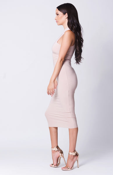 HUG ME TIGHT DRESS - NUDE