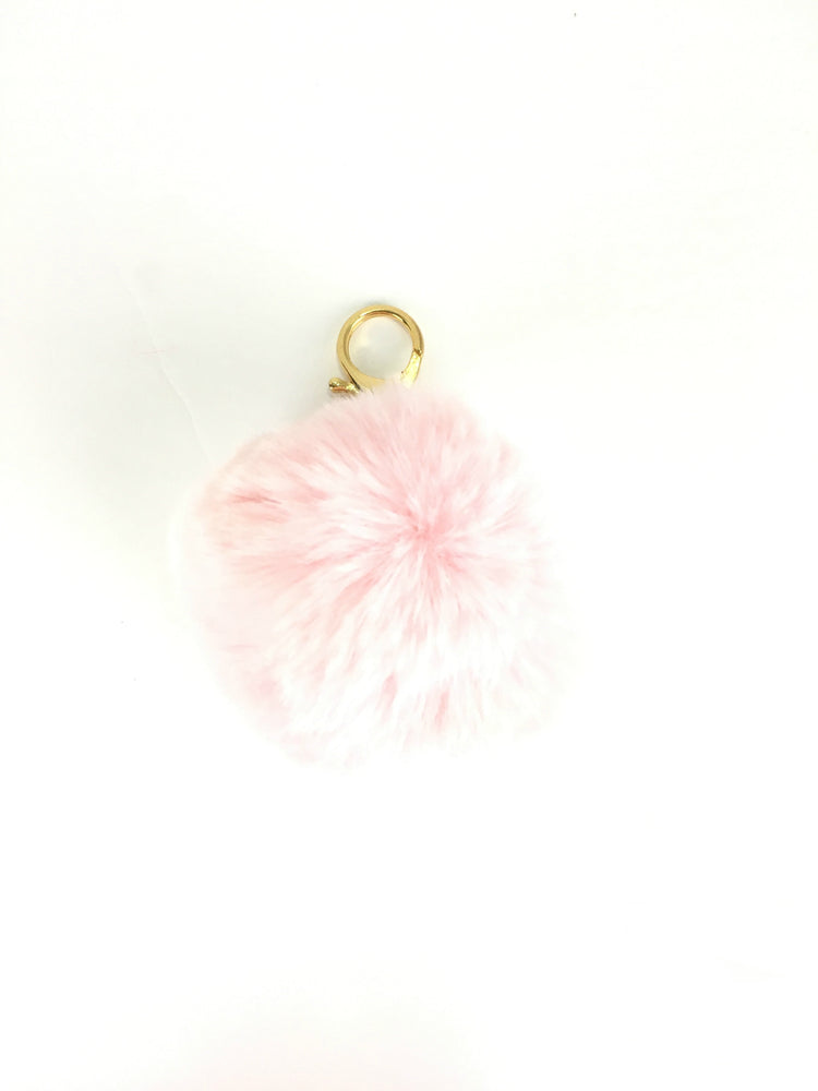 POMPOM PURSE CHARM IN COTTON CANDY PINK