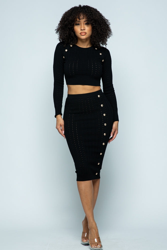 OCTAVIA TWO PIECE SET - BLACK