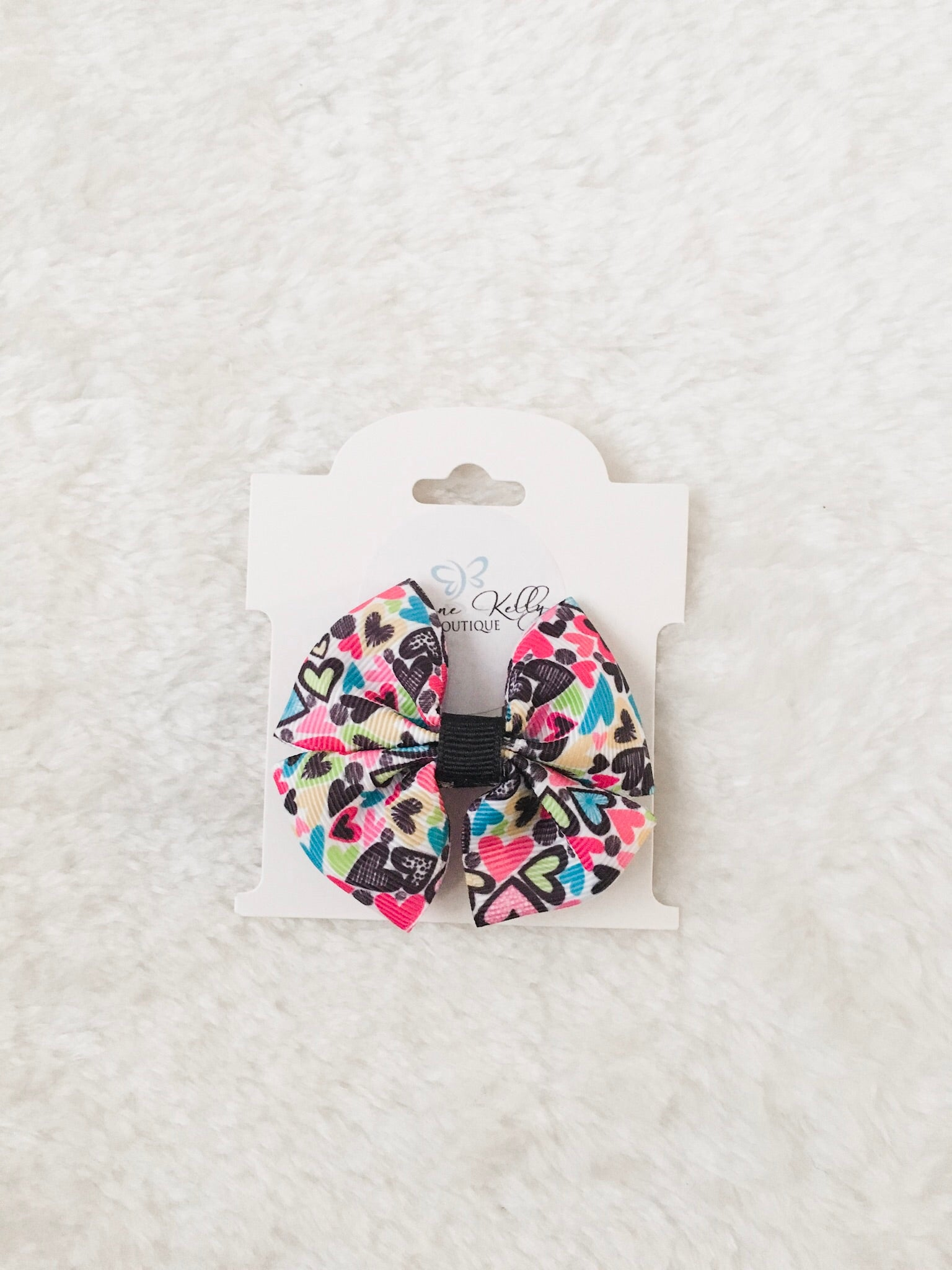 POP OF HEARTS MINI HAIR BOW
