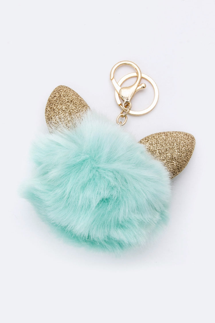 CAT EARS PURSE CHARM IN TIFFANY BLUE