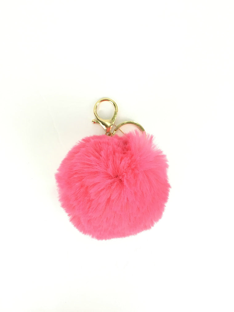 POMPOM PURSE CHARM IN HOT PINK