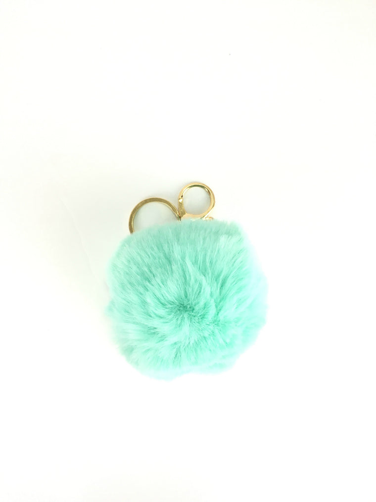 POMPOM PURSE CHARM IN TIFFANY BLUE