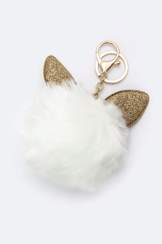 CAT EARS PURSE CHARM IN WHITE