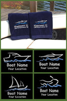 custom embroidered towels, embroidered boat towels
