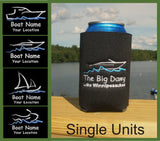 custom embroidered boat can koozies
