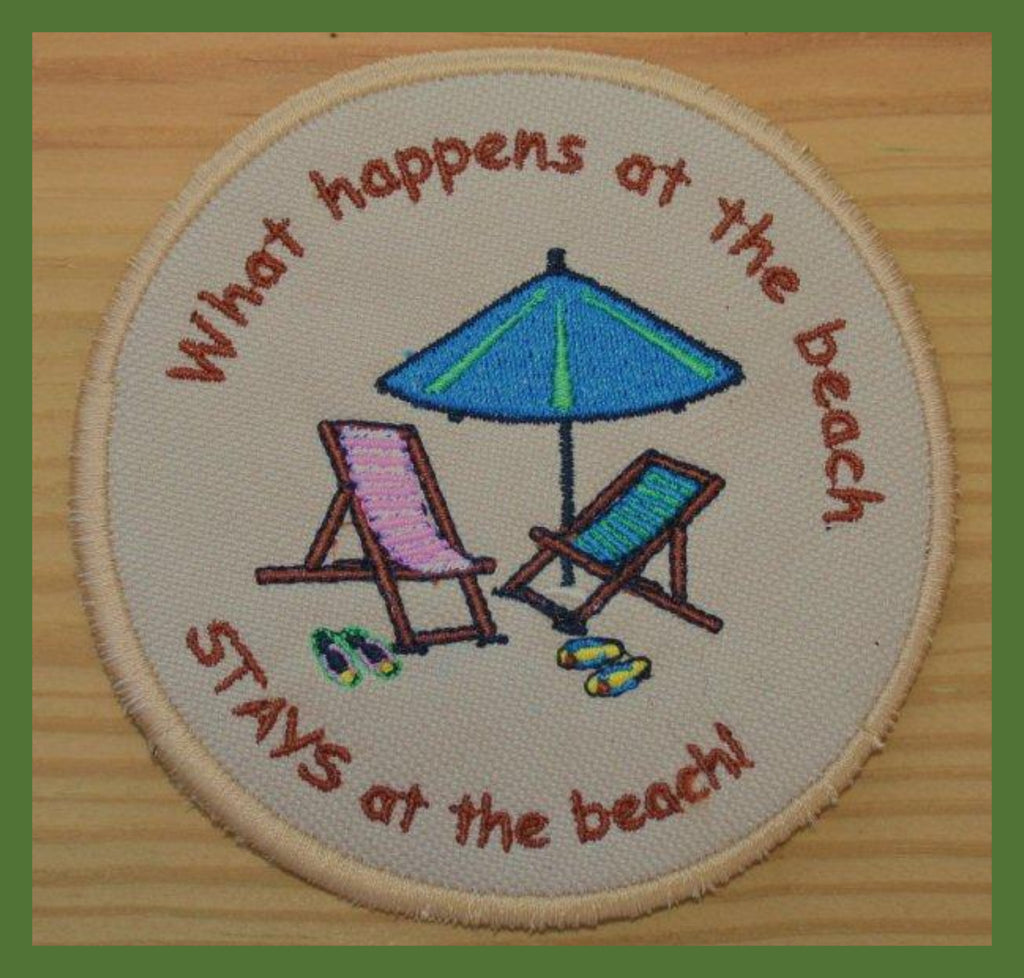 "GetawayWear® Embroidered ""...stays at the beach""  Coasters (4pk) - GetawayWear® Inc."