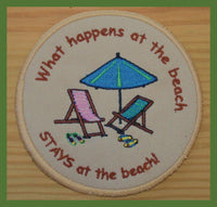 what happens at the beach stays at the beach embroidered coasters