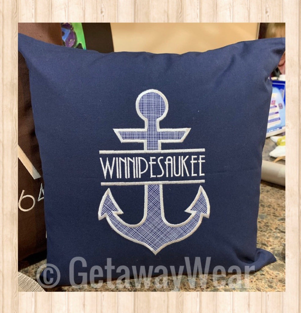 Custom Applique Anchor Pillow - GetawayWear® Inc.