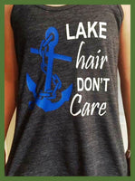 lake hair don't care racerback tank