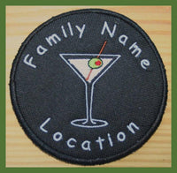 custom embroidered coasters - martini