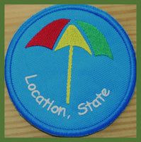 custom embroidered coasters - umbrella
