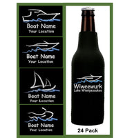 Custom Embroidered Boat Zip Koozies - 24 pk
