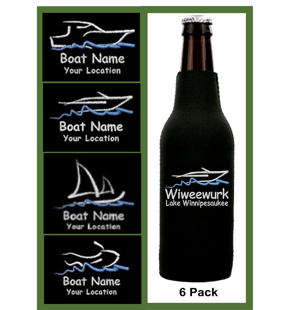 Custom Embroidered Boat Zip Koozies - 6 pk.