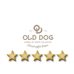 five star testimonial graphic - Old Dog Lures