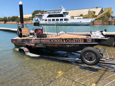 G&T Fishing School and Charters boat at the boat ramp in Townsville Qld