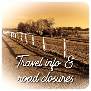 travel info & road closures graphic - old dog lures