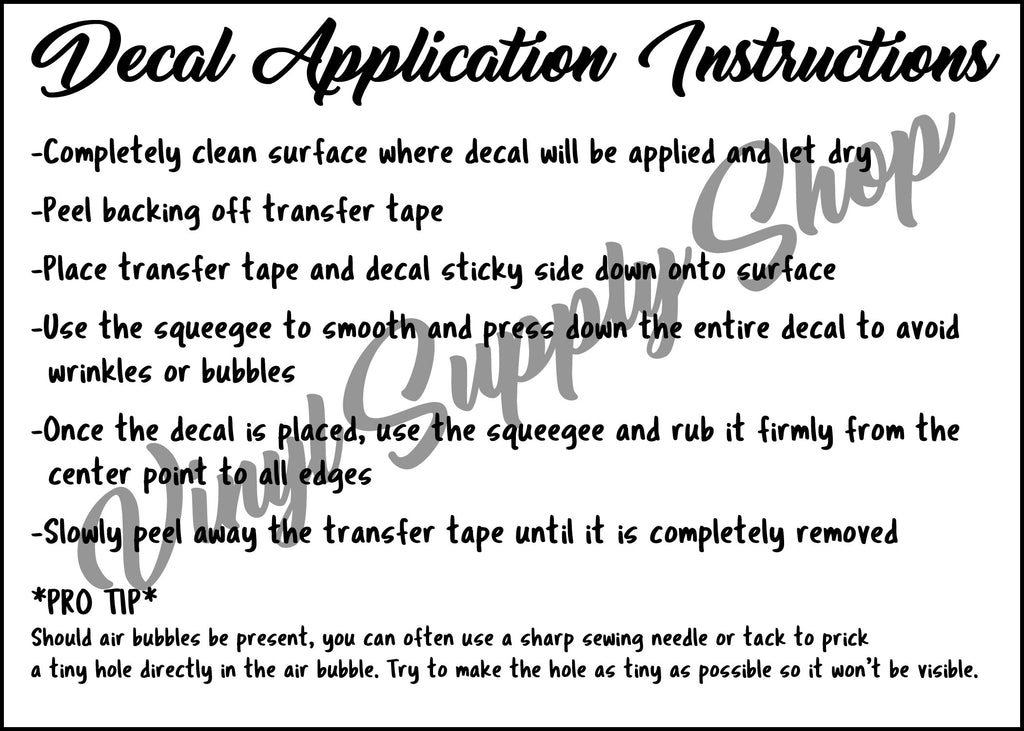photo about Decal Application Instructions Printable called Freebie Printables Vinyl Shipping and delivery Keep