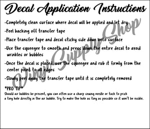 Add Your Business Name Decal Application Instructions Basic  *Printable*