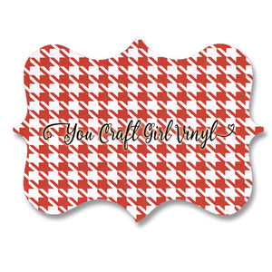 Red Houndstooth Patterned Vinyl 12x12