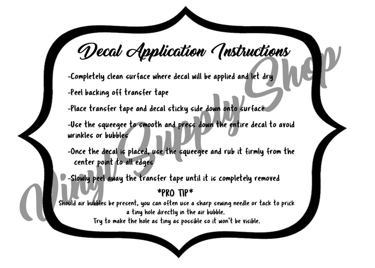 Decal Application Instructions *Printable* - Vinyl Supply Shop