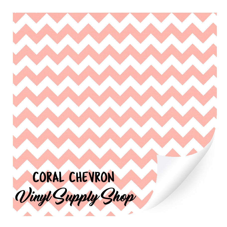 Coral Chevron Patterned Vinyl 12x12
