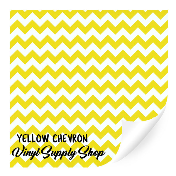 Yellow Chevron Patterned Vinyl 12x12