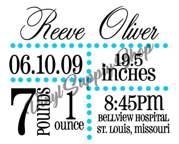 Birth Announcement Cut File *May Be Personalized*