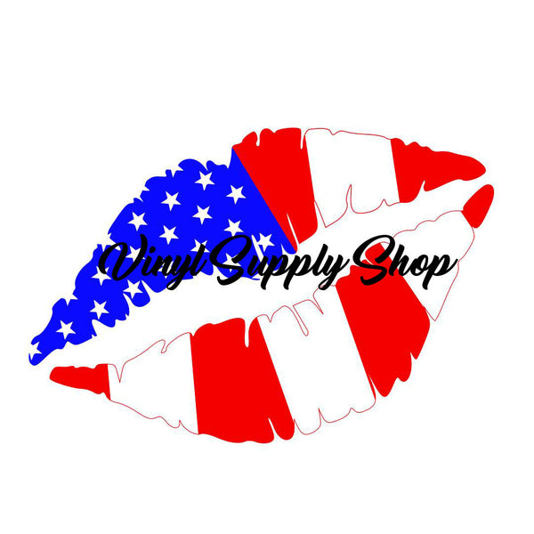 Patriotic Lips Cut File