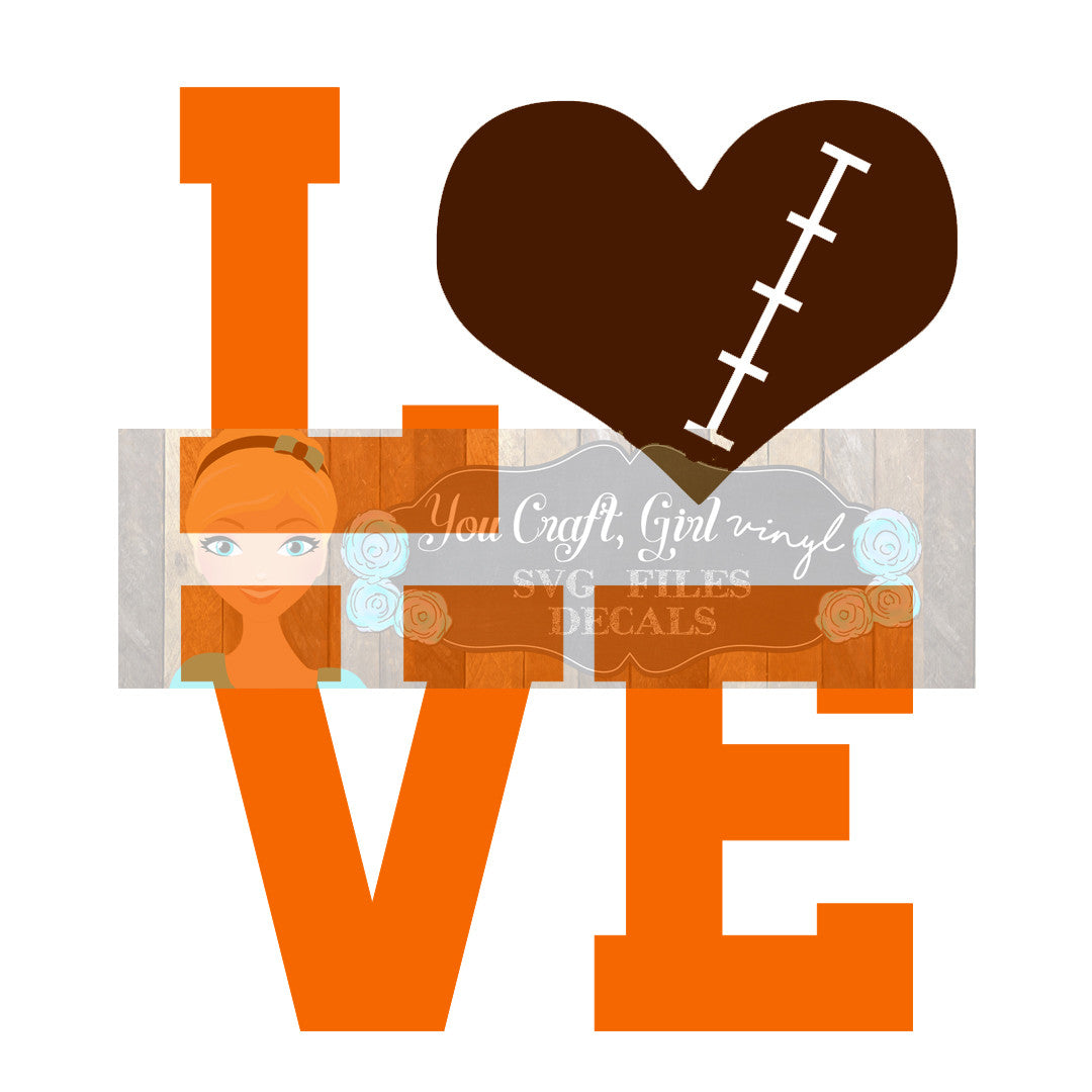 Football Love Cut File
