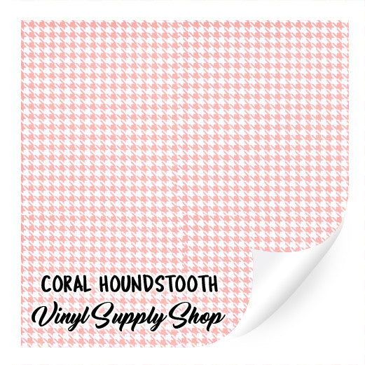 Coral Houndstooth Patterned Vinyl 12x12