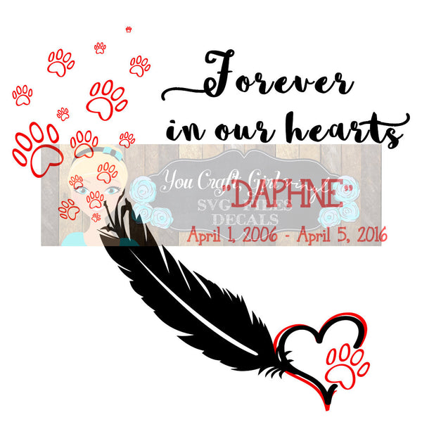 Pet Remembrance Feather Pawprints Svg Dxf Png Pdf Zip File   Commercial Use SVG Digital File car decal   t shirt   clothing   home decor