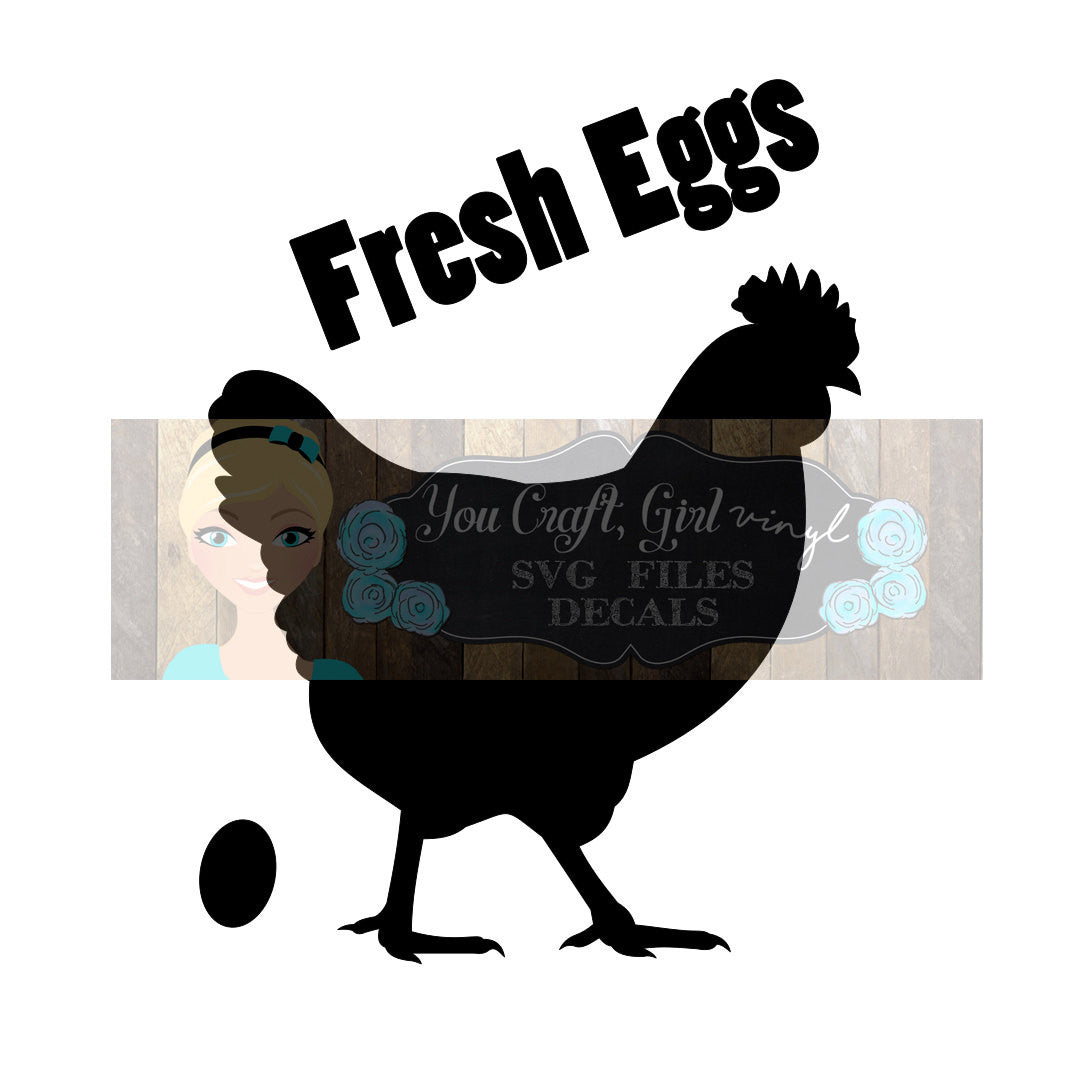 Fresh Eggs Chicken Cut File