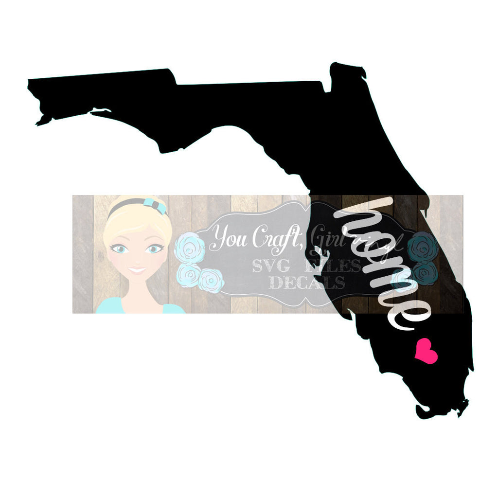 Florida Home State Map Cut File