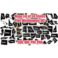 50 States Plus Wash DC Map Home Cut Files