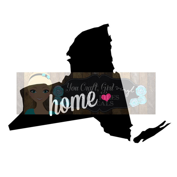 New York Home State Map Cut File