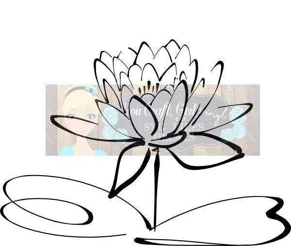 Water Lily Flower Svg Dxf Png Pdf Zip File   Commercial Use SVG Digital File car decal   tshirt   home decor   lotus flower vinyl decal svg