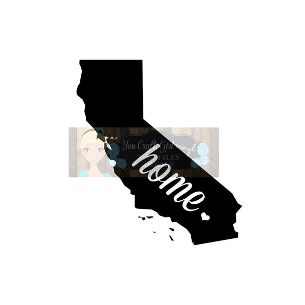 California Home State Map Cut File
