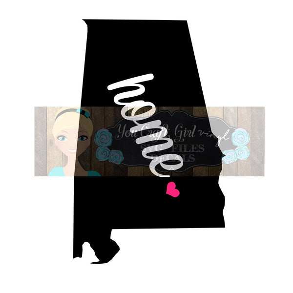 Alabama Home State Map Cut File