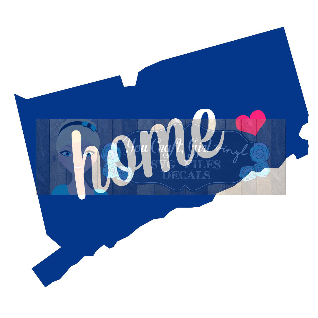 Connecticut Home State Map Cut File