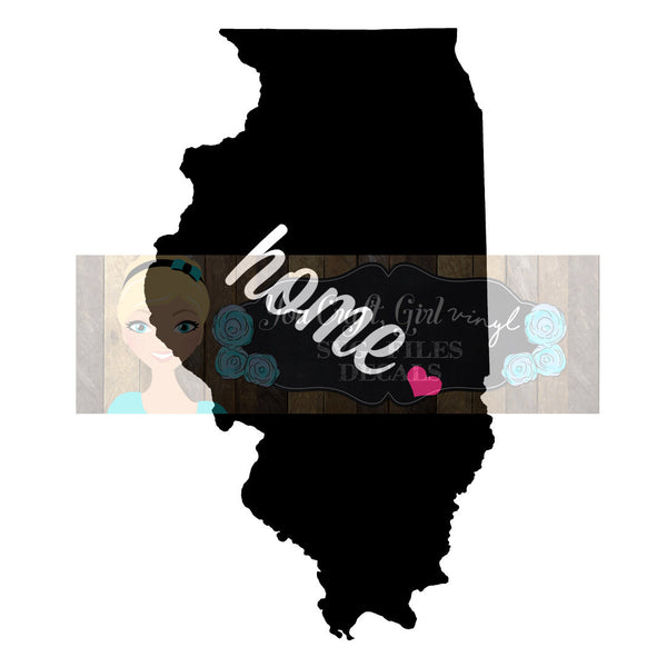 Illinois Home State Map Cut File