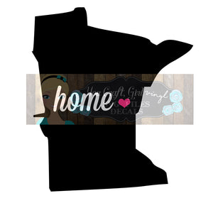Minnesota Home State Map Cut File