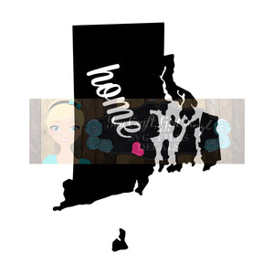 Rhode Island Home State Map Cut File