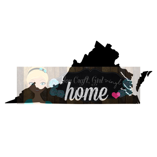 Virginia Home State Map Cut File
