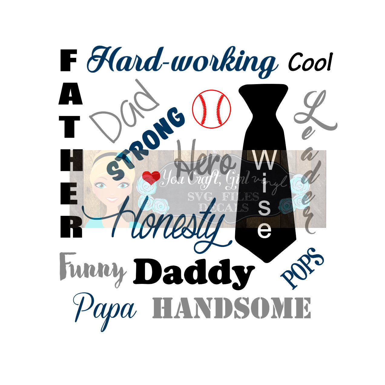 Father Dad Words Set Cut File
