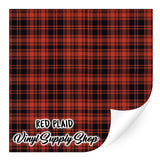 Red Plaid Patterned Vinyl 12x12