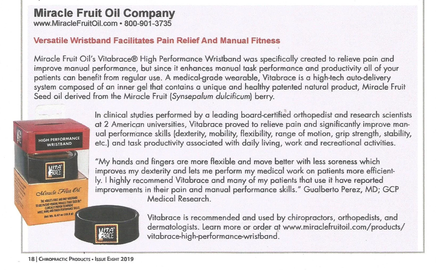 Vitabrace Chiropractic Products