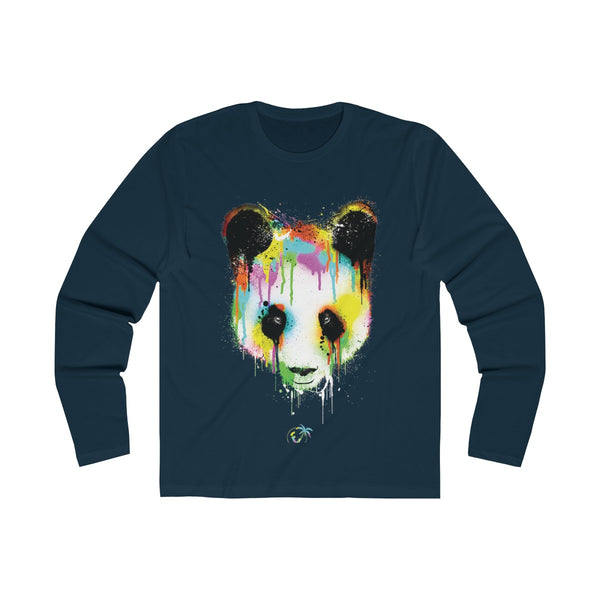 Panda Vibez Long Navy Blue T-Shirt