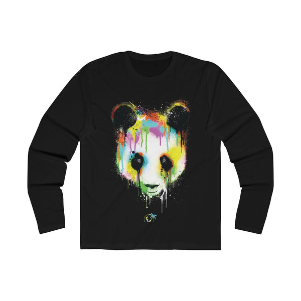 Panda Vibez Long Sleeve Black T-Shirt
