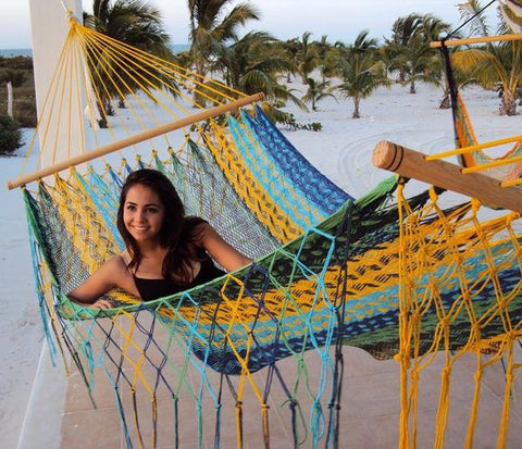 American Style Mayan Hammock with Spreader Bar- Multi Colored-Mayan hammock-SUNNYDAZE DECOR-Hammock UP